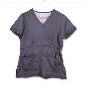 KOI MOCK WRAP SCRUB NURSE MED TECH TOP EUC M